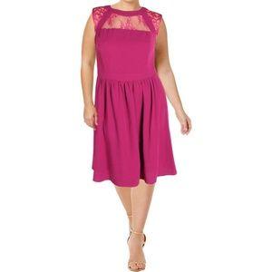 City Chic Womens Fine Lace High-Neck Pockets Dress